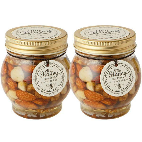 MYHONEYナッツの蜂蜜漬けモデルの朝食にも大人気のインナーケアスーパーフードビタミンや酵素を多く含む生はちみつ使用ハンガリー産ハチミツ
